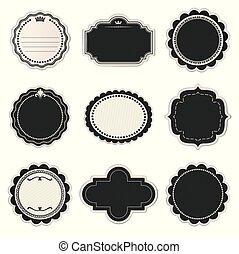 Set of paper label, emblem, badge, sticker in vintage style vector illustration