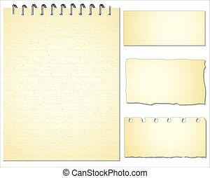 Set of Paper notes. Vector Illustration.