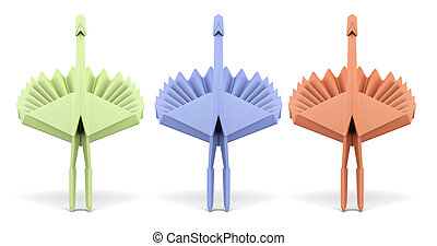 Set of paper peacock isolated on white background. 3d rendering