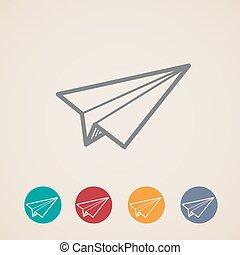 set of paper plane icons