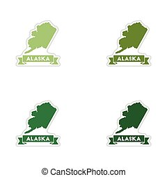 Set of paper stickers on white background Alaska map