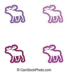 Set of paper stickers on white background Arctic moose