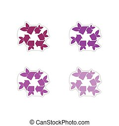 Set of paper stickers on white background arrow leaves