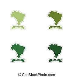 Set of paper stickers on white background Brazil map