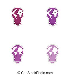 Set of paper stickers on white background bulb Earth