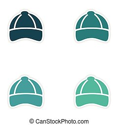 Set of paper stickers on white background cap