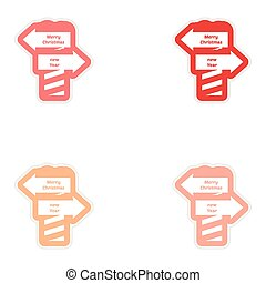 Set of paper stickers on white background Christmas New Year signpost