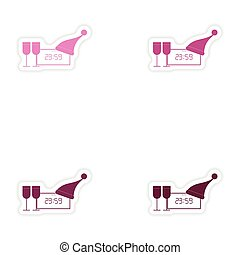 Set of paper stickers on white background clock wineglasses
