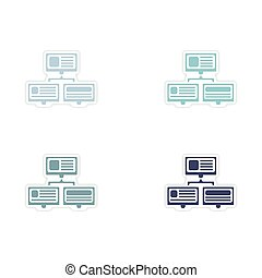 Set of paper stickers on white background computer network