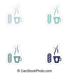 Set of paper stickers on white background cup of coffee