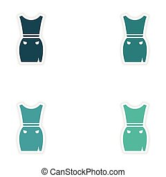 Set of paper stickers on white background dress