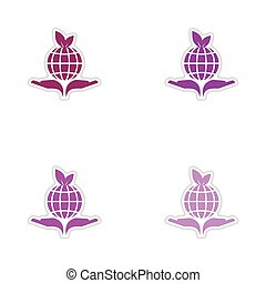 Set of paper stickers on white background Earth hands