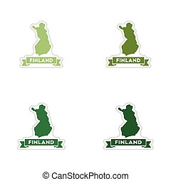Set of paper stickers on white background Finland map