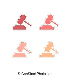 Set of paper stickers on white background gavel