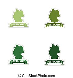 Set of paper stickers on white background Germany map