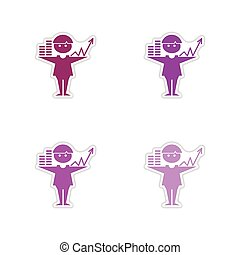 Set of paper stickers on white background graphics businessman