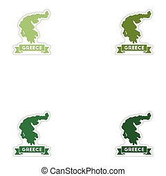 Set of paper stickers on white background Greece map