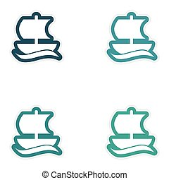 Set of paper stickers on white background Greek ship
