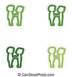 Set of paper stickers on white background groom with friend