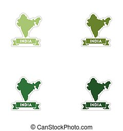 Set of paper stickers on white background India map