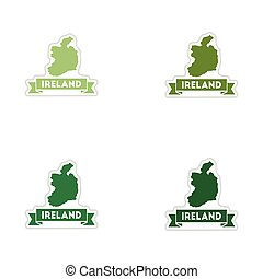 Set of paper stickers on white background Ireland map