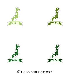 Set of paper stickers on white background Japan map