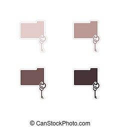 Set of paper stickers on white background key folder