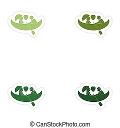 Set of paper stickers on white background love boat
