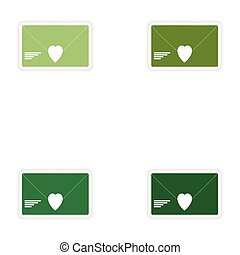 Set of paper stickers on white background love letter