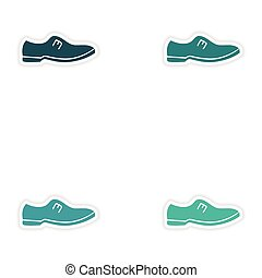 Set of paper stickers on white background man's shoes