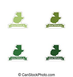 Set of paper stickers on white background map Guatemala