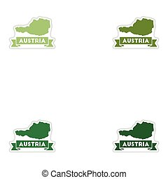 Set of paper stickers on white background map of Austria