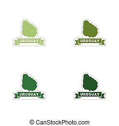 Set of paper stickers on white background map of Uruguay
