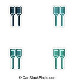 Set of paper stickers on white background medical crutches