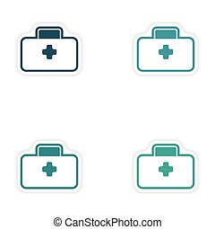 Set of paper stickers on white background medical suitcase