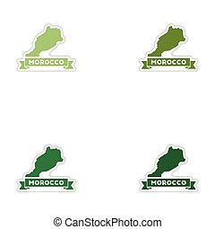 Set of paper stickers on white background Morocco map