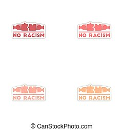 Set of paper stickers on white background no racism