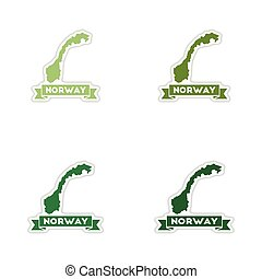 Set of paper stickers on white background Norway map