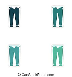 Set of paper stickers on white background pants