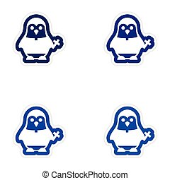 Set of paper stickers on white background penguin priest