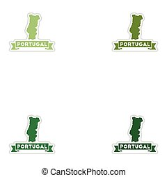 Set of paper stickers on white background Portugal map