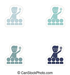 Set of paper stickers on white background priest and people