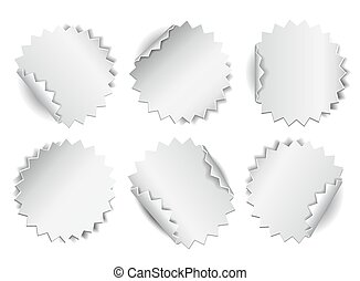 Set of paper stickers on white background.