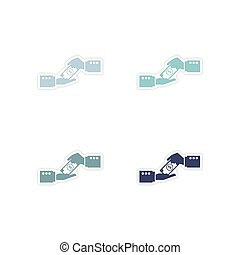 Set of paper stickers on white background suitcase