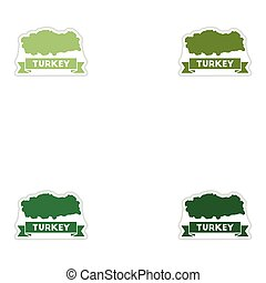 Set of paper stickers on white background Turkey map
