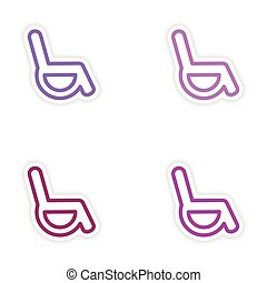 Set of paper stickers on white background wheelchair