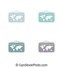 Set of paper stickers on white background World map