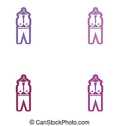 Set of paper stickers on white background waistcoat and trousers