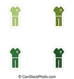 Set of paper stickers on white background men trousers shirt
