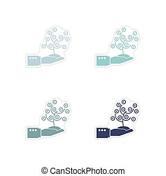 Set of paper stickers on white background Money Tree Hand